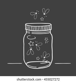Hand drawn cute vector illustration of a mason jar filled with fireflies, summer, wedding and romance concept illustration