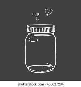 Hand drawn cute vector illustration of a mason jar with fireflies, summer, wedding and romance concept illustration