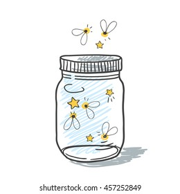 Hand drawn cute vector illustration of a mason jar filled with fireflies, summer, dreams, wedding and romance concept illustration