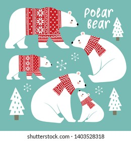Hand drawn cute vector polar bears in winter clothes. Perfect for tee shirt logo, greeting card, poster, invitation or print design. You can find the matching seamless pattern in my Christmas set.