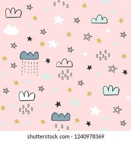 Hand drawn cute vector seamless cloud pattern, greeting card, web template, wallpaper, pattern for kids, baby apparel, fabric, textile, wallpaper, bedding, swaddles, pyjama