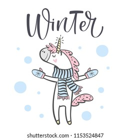 Hand drawn cute winter unicorn isolated on white background. Design element for greeting cards, t-shirt and other. Vector illustration.