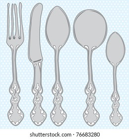 Hand drawn cutlery set. A vector hand drawn effect illustration of a set of a cutlery set.