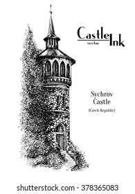 Hand drawn Czech church Tower Ink old-fashioned vector style Sychrov