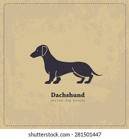 Hand drawn Dachshund vintage  poster. All objects are conveniently grouped and are easily editable.  Pure stylized silhouette of a dog is easily accessible