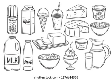 Hand drawn dairy product icons. Engraving yogurt, milk, cottage cheese and smoothies. Sketch butter, sour cream, camembert and whipped cream. Vector illustration. Retro style.