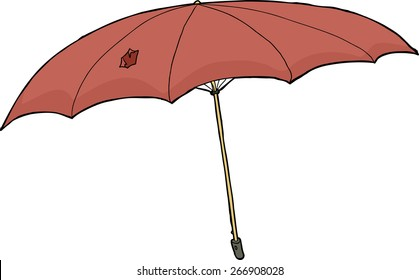 Hand drawn damaged umbrella over white background
