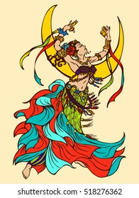 Hand Drawn Dancing girl on the background of the crescent. Colorful Vector Illustration of Tribal Dancer or Folk Dancer. Woman Dancing in Costume with Accessories, with Sagat and Flowers in Her Hair.