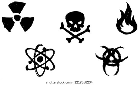 hand drawn danger sign pack. Nuclear. poison, death, fire, flammable, atomic, bioharzad, toxic. Warning sign pack for mobile, infographic, website or app.