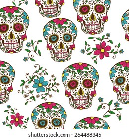 Hand drawn Day of The Dead colorful sugar skull with floral ornament and flower seamless pattern. White background