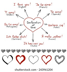 Hand drawn declarations of love in different languages with set of hand drawn hearts. Vector illustration in the form of mind map
