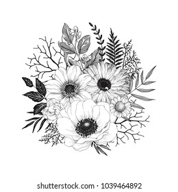 Hand drawn decor with flowers Anemone, Dahlia and Calendula, leaves and branches. Vector nature illustration in vintage style.