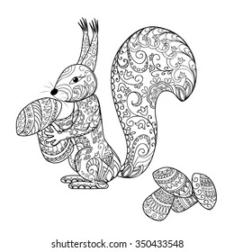Hand Drawn Decorated Cartoon Squirrel With Mushrooms Image For Coloring Pages Books