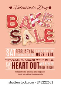 Hand drawn decorated cookies that say Bake Sale for a Valentine's Day promotion on a flyer, brochure, poster template layout.