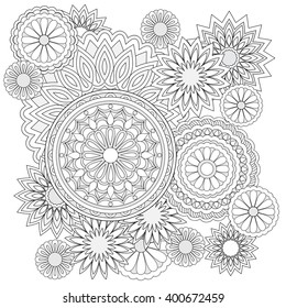 Hand drawn decorated image with doodle flowers and mandalas. Image for backgrounds,  adult coloring pages, books, embroidery. Vector illustration - eps8..