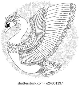 Hand drawn decorated swan and flowers in ethnic style isolated on white. Image for adult, children coloring book, page, tattoo, decorate dishes, cups, porcelain, t-shirts, dress, bags, tunics