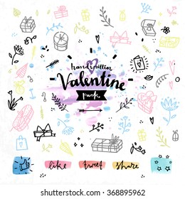 Hand drawn decoration elements with valentine's day love lettering of gift box festive package, lovely presents, greeting card. Handwritten vector drawing design set on colorful watercolor background