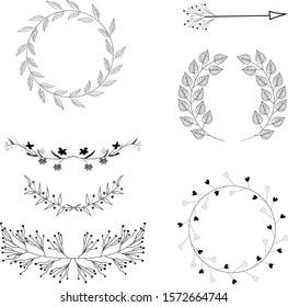 Hand drawn decoration graphic elements