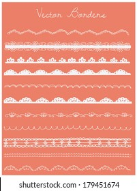Hand Drawn Decorative Borders Vector Collection with Lace and Scalloped Edges Designs