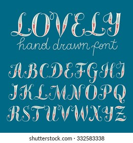 Hand drawn decorative brush calligraphy vector ABC letters with floral ornament. Beautiful font for your design.