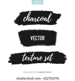Hand drawn decorative charcoal scribble texture. Vector design element, black coal stain for banners, background.