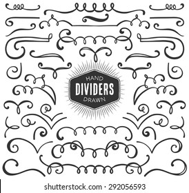Hand drawn decorative curls, swirls, dividers collection. Vintage vector design elements. Ink illustration.