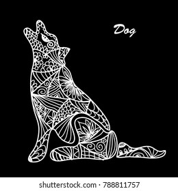 Hand drawn decorative dog, design element. Can be used for cards, invitations, scrapbooking, print, fabric, gift wrap, manufacturing, posters. Animal theme. Symbol of 2018