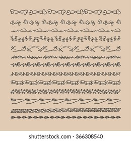 Hand drawn decorative doodle borders. Vector illustration