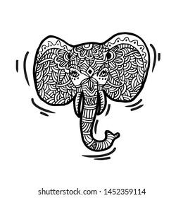 Hand drawn decorative elephant head