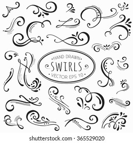 Hand drawn decorative floral curls and swirls collection. Vintage vector design elements. Ink illustration.