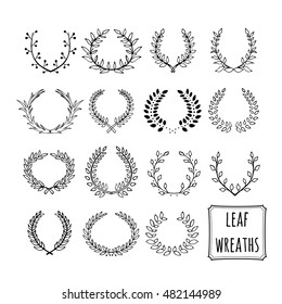 Hand drawn decorative floral set of 15 wreaths made in vector. Unique collection of wreaths and branches.