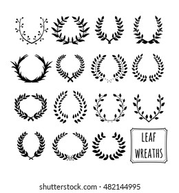 Hand drawn decorative floral set of 15 wreaths made in vector. Unique collection of black wreaths and branches.