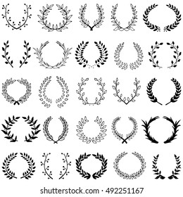 Hand drawn decorative floral set of 25 wreaths made in vector. Unique collection of laurel wreaths and branches.