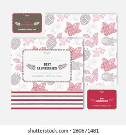 Hand drawn decorative fruit cards set with raspberries, design elements. Can be used for invitations, gift wrap, print, scrapbooking, flyers, greetings. Food theme
