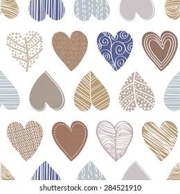 Hand drawn decorative hearts seamless vector pattern