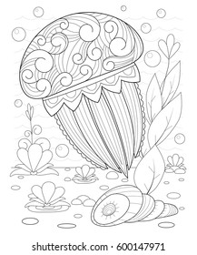 Hand drawn decorative jellyfish in the waves and with seaweed stress Coloring Page with high details, isolated on pattern background, illustration in zentangle style.