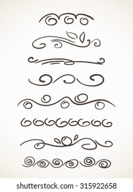 Hand drawn decorative line border set