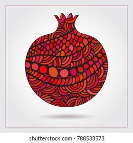 Hand drawn decorative ornamental pomegranate made of swirl doodles for Rosh Hashanah greeting card, Jewish New Year. Rosh hashana, sukkot Jewish Holiday. Vector abstract illustration of fruit logo
