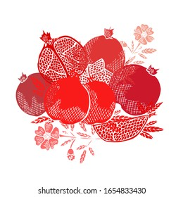 Hand drawn decorative pomegranate fruits, design elements. Can be used for cards, invitations, scrapbooking, print, manufacturing. Food, kitchen theme
