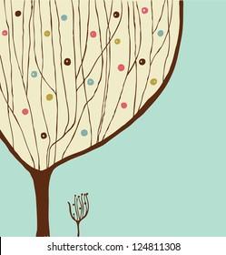 Hand drawn decorative tree. Vintage spring banner