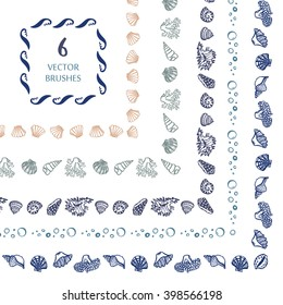 Hand drawn decorative vector brushes sea life shell