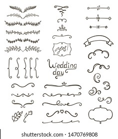Hand drawn decorative vintage elements (laurels, leaves, flowers, swirls, frames, lettering). Perfect for invitations, greeting cards, quotes, blogs, Wedding Frames, posters.
