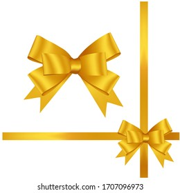 Hand drawn decorative yellow-colored ribbons. Bow page decoration.