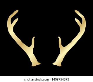 Hand drawn deer antlers. Magic vintage vector silhouette illustration in golden over black. Spiritual art, yoga, boho style, nature and wilderness.
