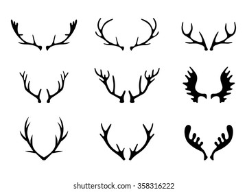 Hand Drawn Deer Antlers Vectors.