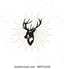 Hand drawn deer's head label. Vintage black vector silhouette of Deer head with antlers, sunbursts isolated on white background. Wild animal shape design. Stamp Illustration.