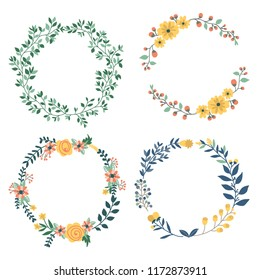 Hand drawn design of colorful floral wreaths elements set.  For invitation and wedding card.Vector illustration design.