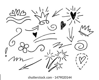 hand drawn design element set. swishes, swoops, swirl, arrow, heart, love, crown, flower, highlight text and emphasis element, black on white background, use for concept design