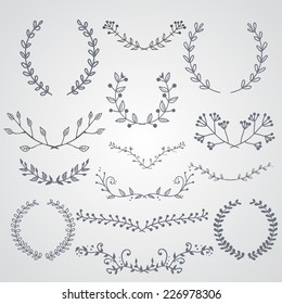 Hand drawn design elements and wreaths