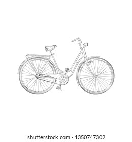 Hand drawn design of pedal cycle sketch.